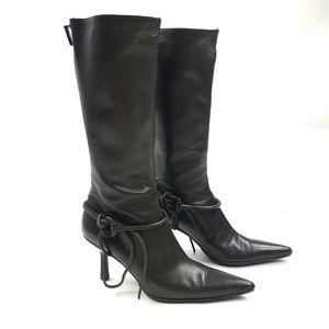 Gucci Horsebit Pointy Toe High Heel Boots 6B